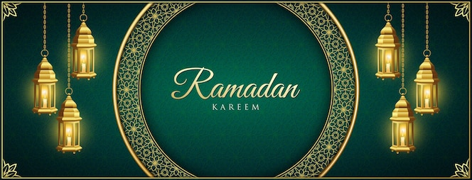 Ramadan kareem background with golden ornaments and laterns