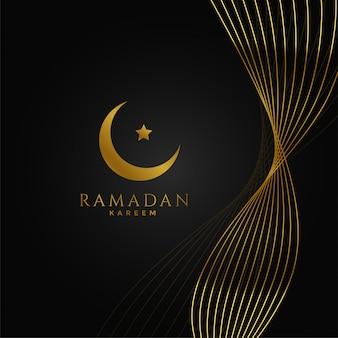 Ramadan kareem background with golden wavy lines