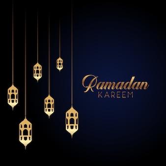 Ramadan kareem background with hanging lanterns