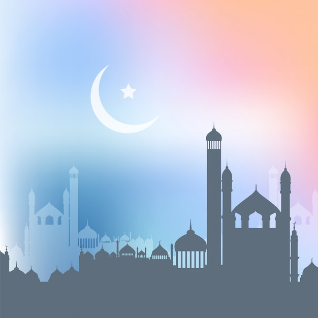 Ramadan kareem background with landscape of mosques