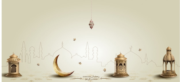 Ramadan kareem background with lanterns and crescent