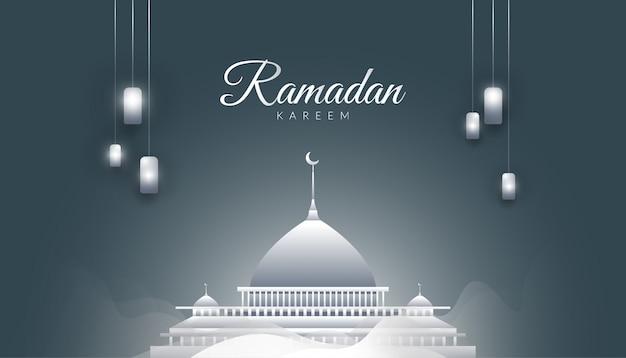 Ramadan kareem background with magnificent mosque, mist and silver lanterns Premium Vector