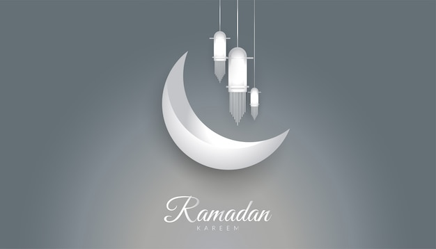 Ramadan kareem background with metallic style