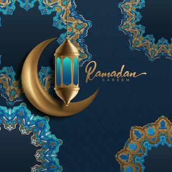 Рамадан карим фон с луной и фонарем Premium векторы
