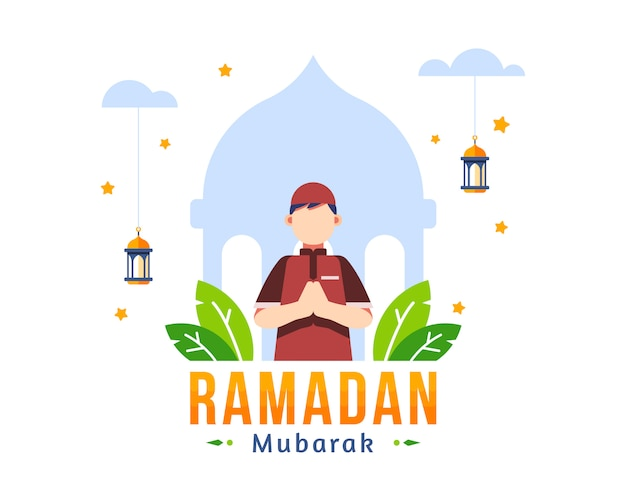 Ramadan kareem background with moslem young boy stand in front of mosque silhouette illustration