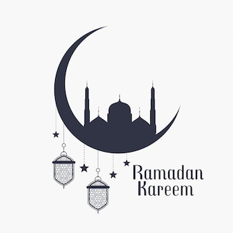 Ramadan kareem background with mosque and lamps