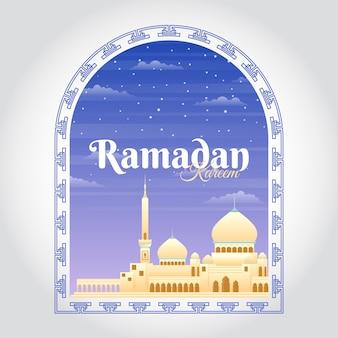 Ramadan kareem background with mosque stock  illustration