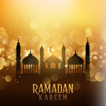 Ramadan kareem background with mosques on bokeh lights