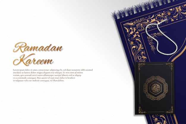 Ramadan kareem background with prayer beads, arabic book and prayer rug