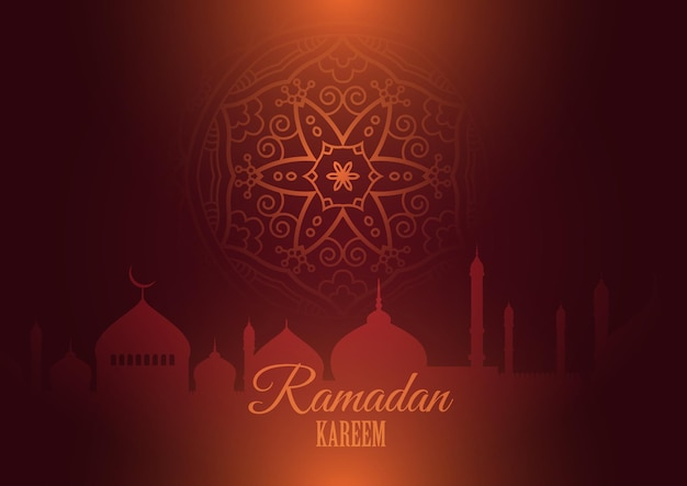 Ramadan kareem background with silhouettes of mosque and mandala design