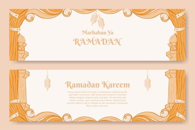 イスラムの装飾品の手描きイラストとラマダンカリームバナーデザイン