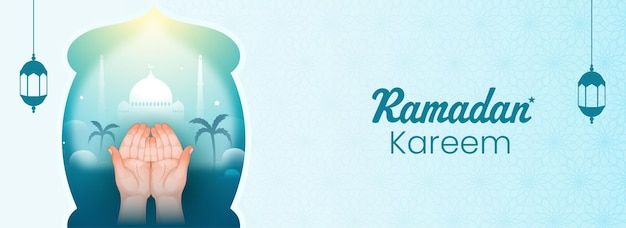 Ramadan kareem banner or header design with islamic praying hands and mosque illustration on blue islamic pattern background.