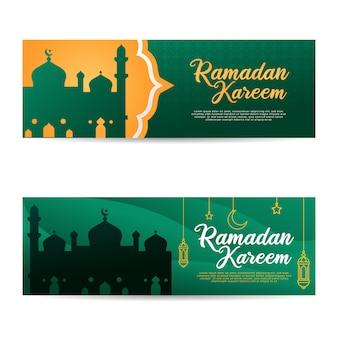 Ramadan kareem banner template set islamic muslim eid mubarak
