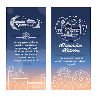 Ramadan kareem banner template with outline illustration vector