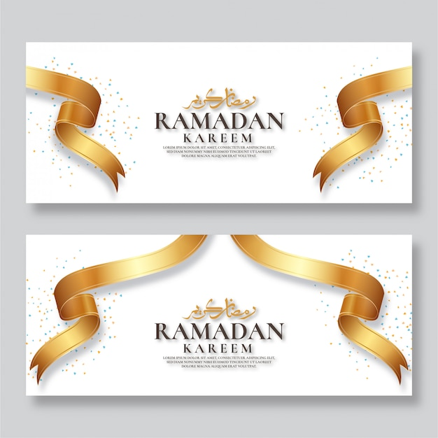 Ramadan kareem banner with gold ribbon