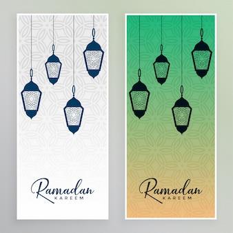 Ramadan kareem banner with lamps decoration