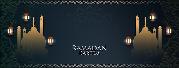 Ramadan kareem banner with mosque and lamps