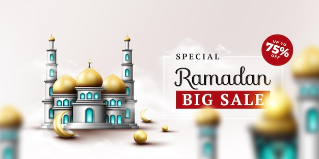 Ramadan kareem banner with mosque