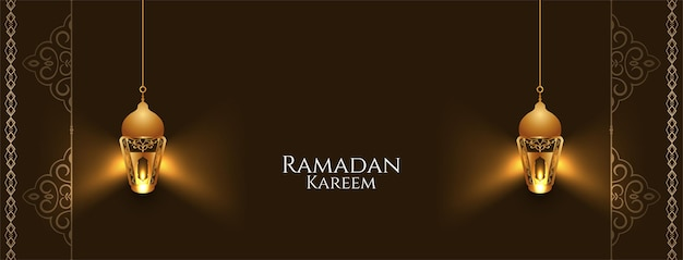 Ramadan kareem banner with stylish glowing lanterns