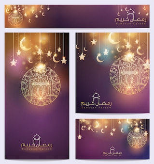 Ramadan kareem beautiful arabic background floral ornament star and crescent mosque for greeting business card