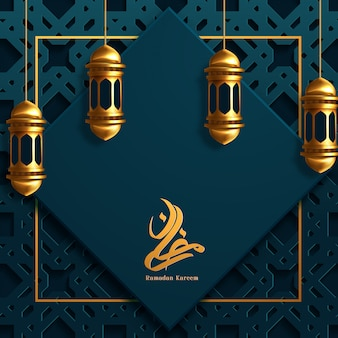 Ramadan kareem beautiful greeting card with arabic calligraphy.