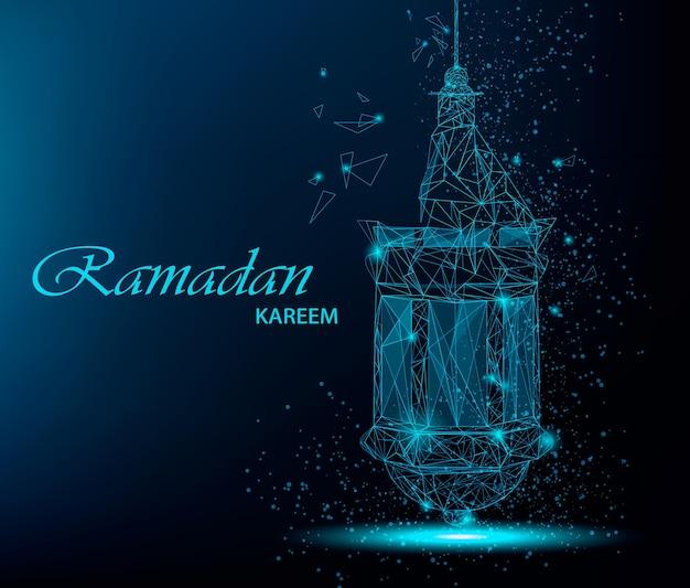Ramadan kareem beautiful greeting card with traditional arabic lantern