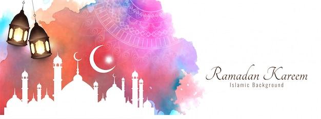 Рамадан карим красивый исламский красочный баннер