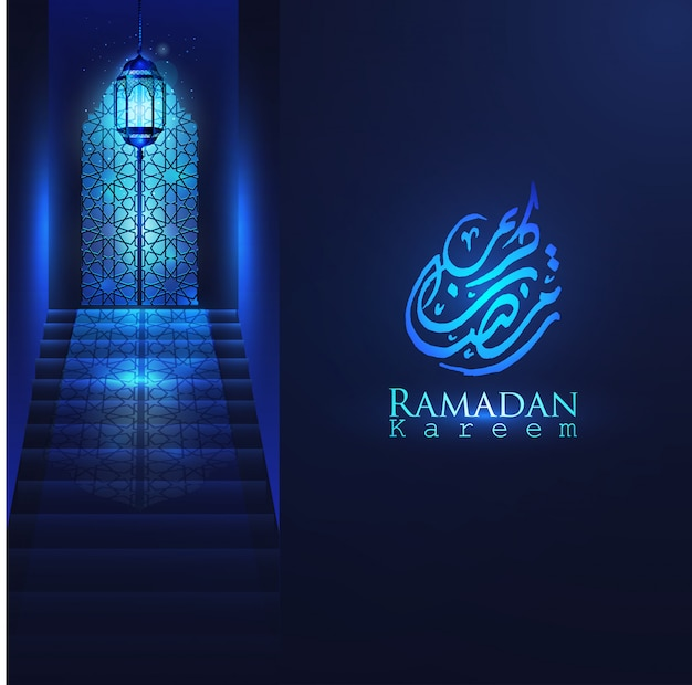 Ramadan kareem beautiful mosque door with arabic design, glowing lantern & stair for islamic greeting vector background