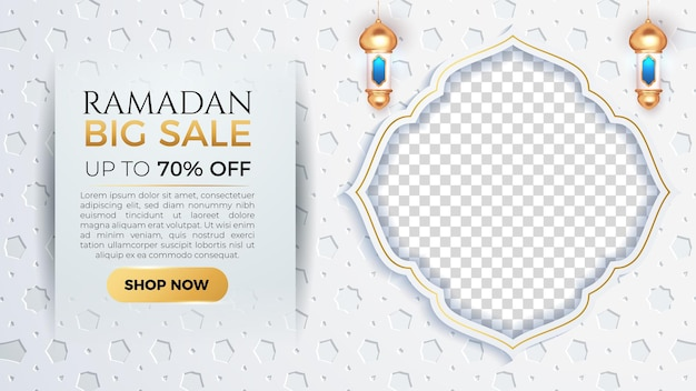 Ramadan kareem big sale banner with empty space for photo and white patern background