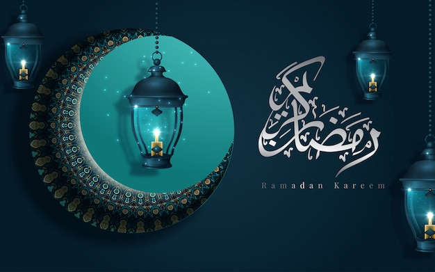 Ramadan kareem calligraphy means happy holiday with dark turquoise floral elements and fanoos