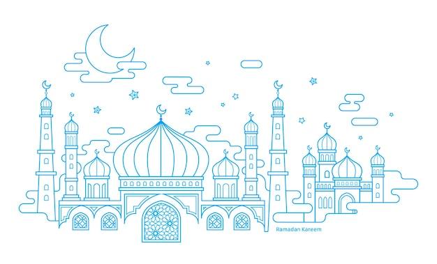 Рамадан карим каллиграфия с пейзажем мечети в стиле тонкой линии на белом фоне