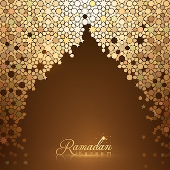 Ramadan kareem card background template with morocco gold mosaic