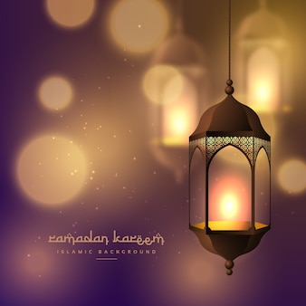 Ramadan kareem card with lantern