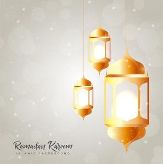 Ramadan kareem card with lantern