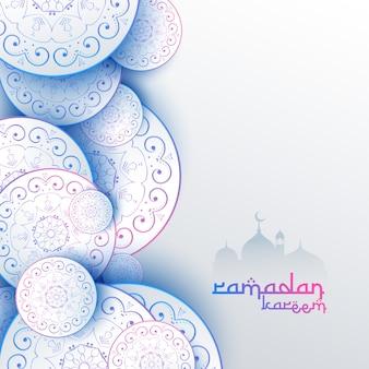 Ramadan kareem card with mandala design