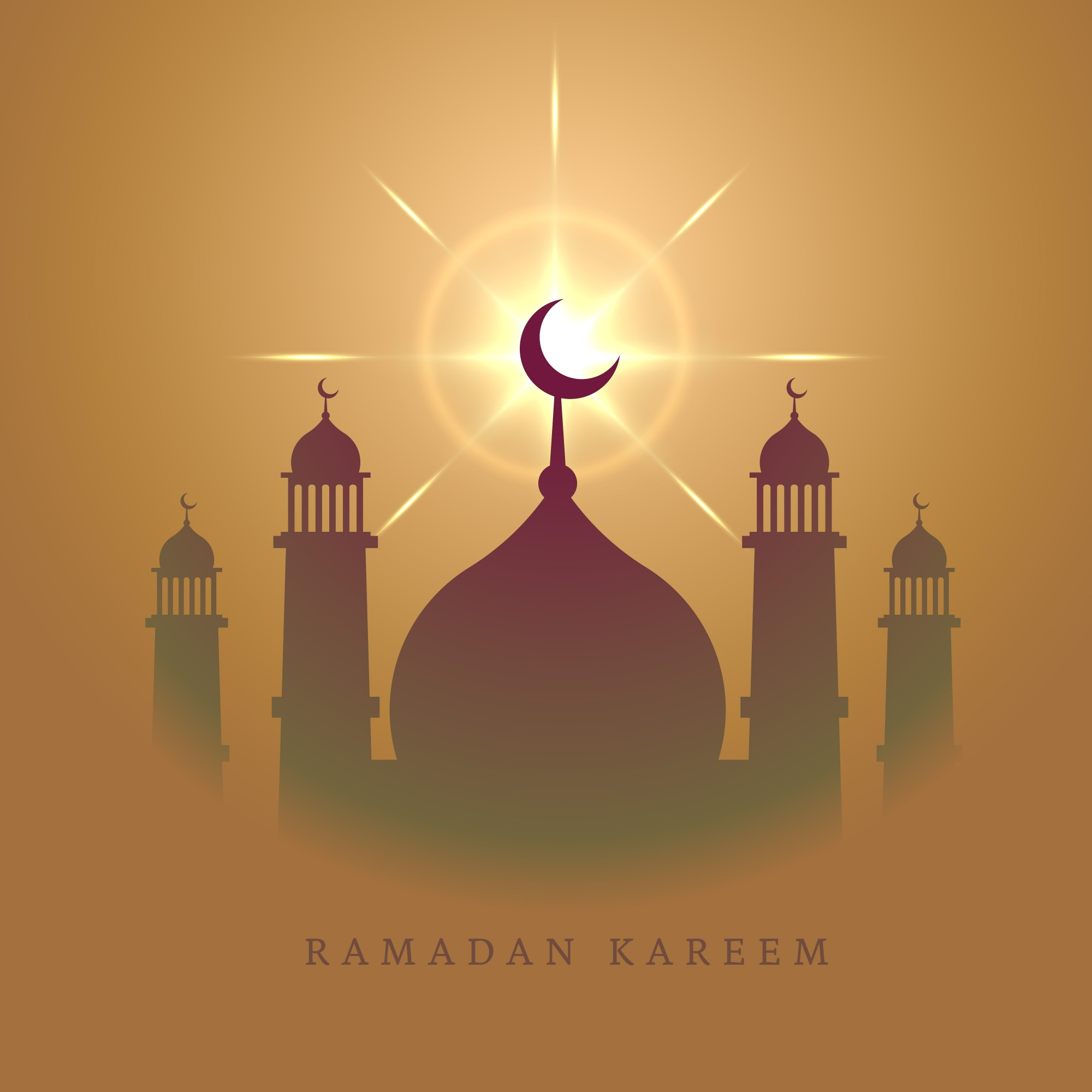 Ramadan kareem card with mosque