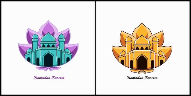 Ramadan kareem cartoon  with mosque and flower