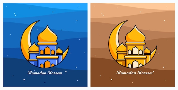 Ramadan kareem cartoon with mosque and night moon