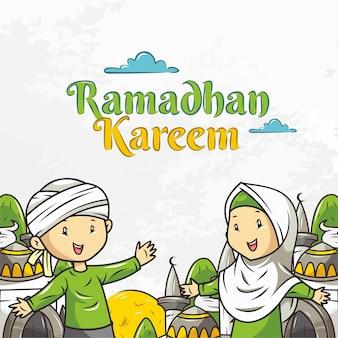 Ramadan kareem in cartoon