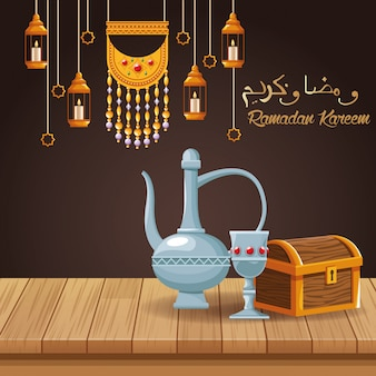 Празднование рамадана карима с чайником и чашей
