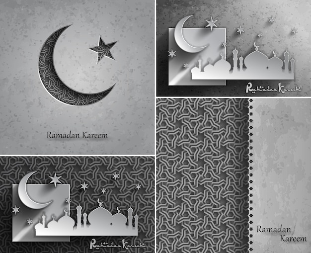 Ramadan kareem celebration greetings cards for holy month of muslim community