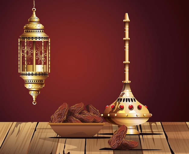 Ramadan kareem celebration with chalice golden and food