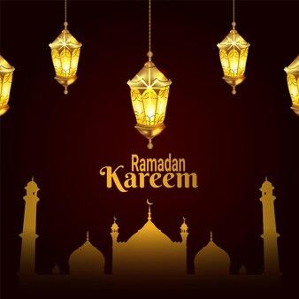 Ramadan kareem celebration with creative golden lantern