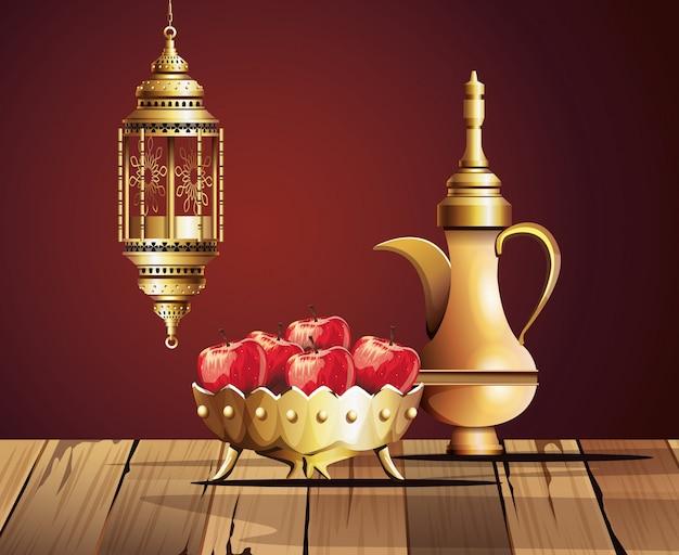 Ramadan kareem celebration with golden teapot and food