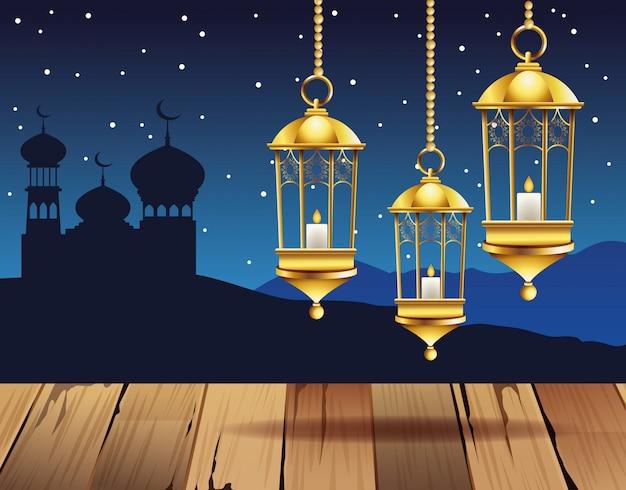 ランプとタージマハルのイラストでラマダンカリームお祝い