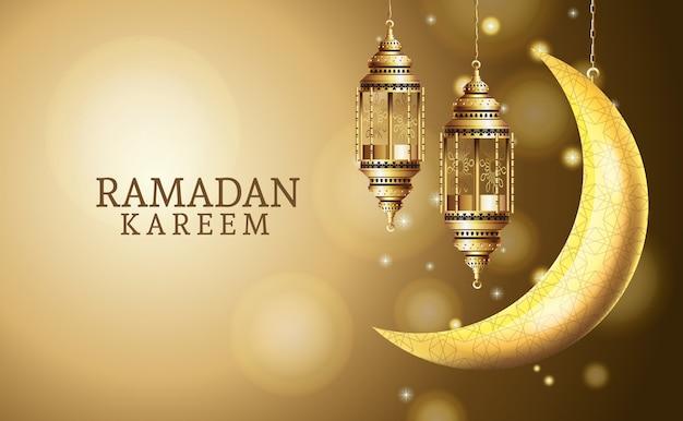 Ramadan kareem celebration with lanterns hanging and moon
