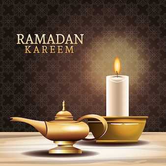 Ramadan kareem celebration with magic lamp and candle illustration