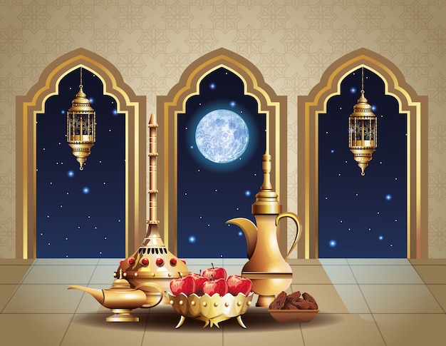 Ramadan kareem celebration with temple inside and golden utensils