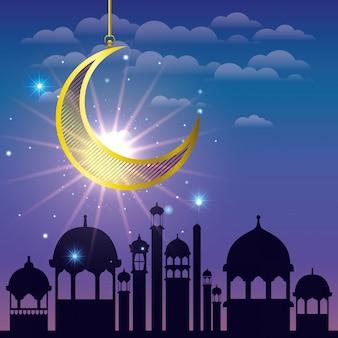 Ramadan kareem cityscape with golden moon hanging