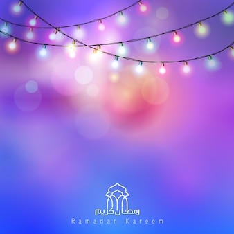 Ramadan Kareem colorful glow bulb lamp greeting background